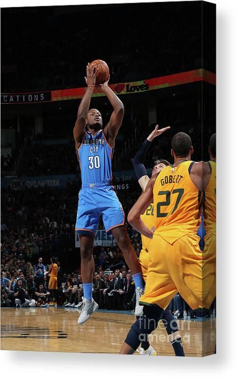 Nba Pro Basketball Canvas Print featuring the photograph Utah Jazz V Oklahoma City Thunder by Zach Beeker