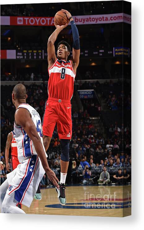Nba Pro Basketball Canvas Print featuring the photograph Washington Wizards V Philadelphia 76ers by David Dow