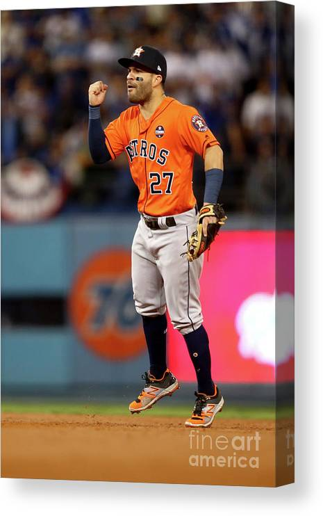 Second Inning Canvas Print featuring the photograph World Series - Houston Astros V Los by Ezra Shaw