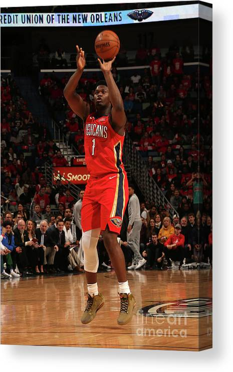 Smoothie King Center Canvas Print featuring the photograph Zion Williamson by Layne Murdoch Jr.