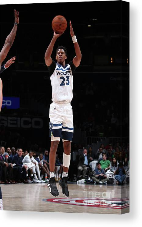 Nba Pro Basketball Canvas Print featuring the photograph Minnesota Timberwolves V Washington by Ned Dishman