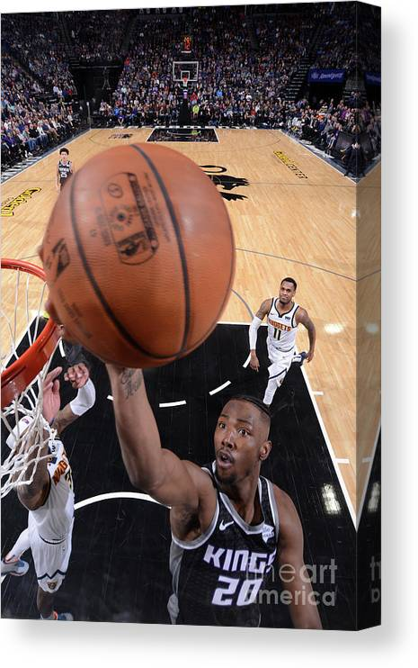 Nba Pro Basketball Canvas Print featuring the photograph Denver Nuggets V Sacramento Kings by Rocky Widner