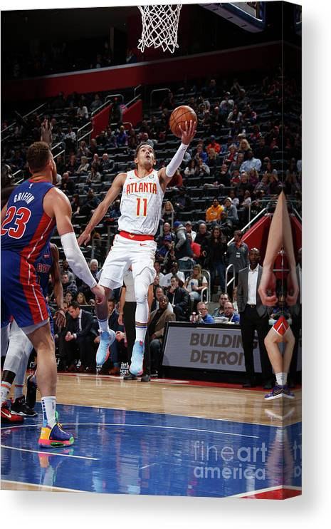 Nba Pro Basketball Canvas Print featuring the photograph Atlanta Hawks V Detroit Pistons by Brian Sevald