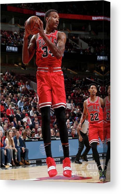 Nba Pro Basketball Canvas Print featuring the photograph Denver Nuggets V Chicago Bulls by Gary Dineen