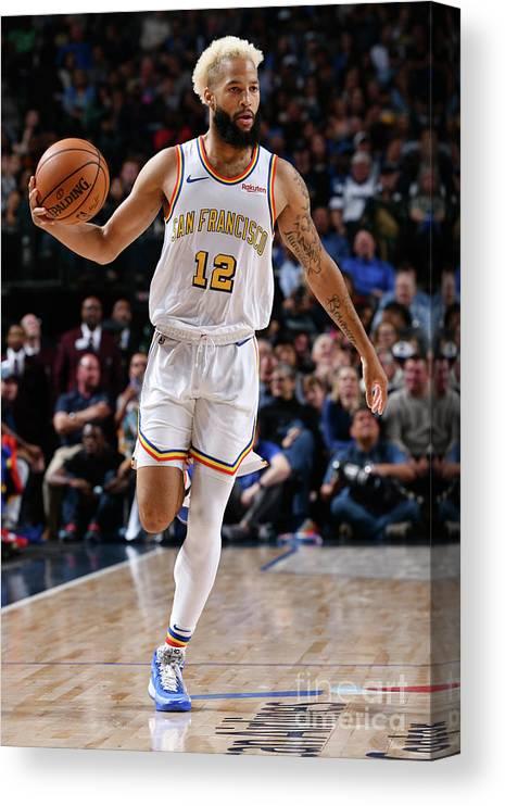 Nba Pro Basketball Canvas Print featuring the photograph Golden State Warriors V Dallas Mavericks by Glenn James