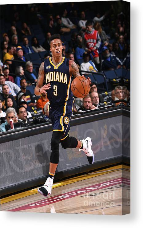 Nba Pro Basketball Canvas Print featuring the photograph Indiana Pacers V Golden State Warriors by Noah Graham