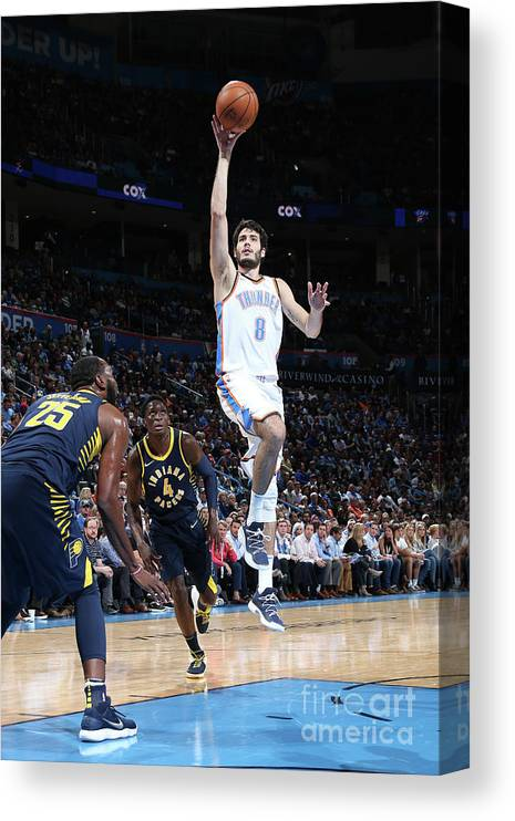 Nba Pro Basketball Canvas Print featuring the photograph Indiana Pacers V Oklahoma City Thunder by Layne Murdoch