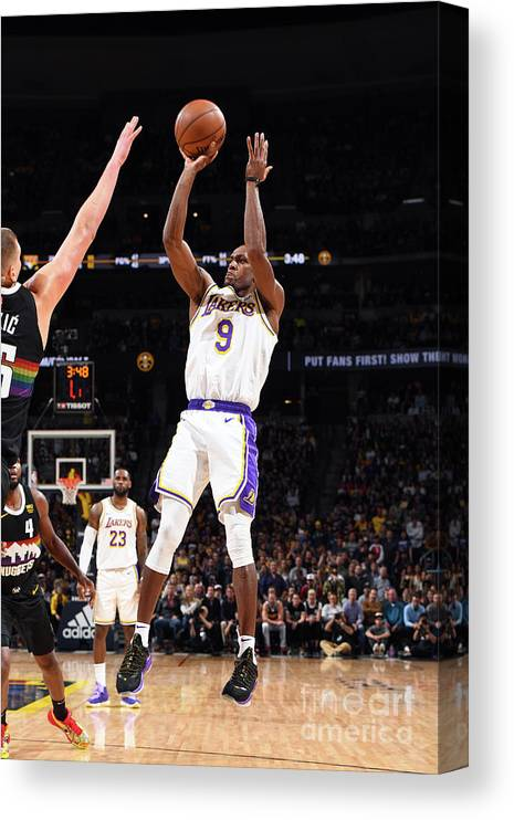 Nba Pro Basketball Canvas Print featuring the photograph Los Angeles Lakers V Denver Nuggets by Garrett Ellwood