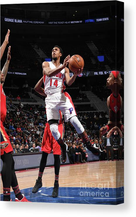 Nba Pro Basketball Canvas Print featuring the photograph New Orleans Pelicans V Detroit Pistons by Chris Schwegler