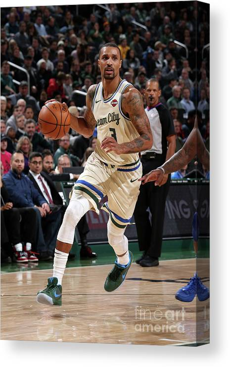 Nba Pro Basketball Canvas Print featuring the photograph New York Knicks V Milwaukee Bucks by Gary Dineen
