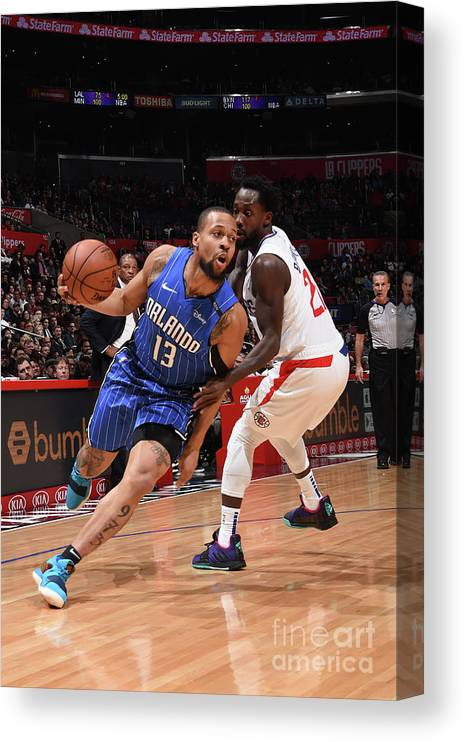 Nba Pro Basketball Canvas Print featuring the photograph Orlando Magic V La Clippers by Adam Pantozzi