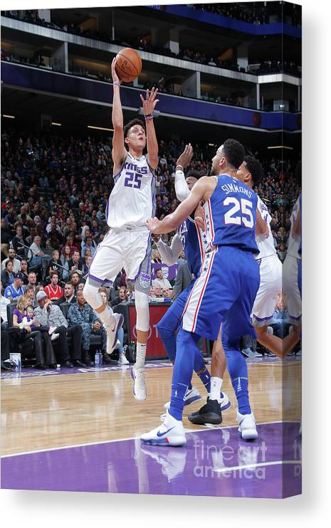 Nba Pro Basketball Canvas Print featuring the photograph Philadelphia 76ers V Sacramento Kings by Rocky Widner