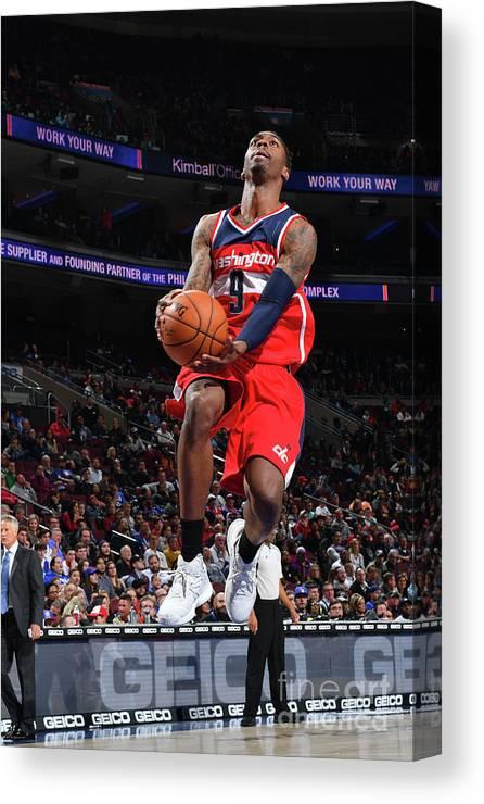 Nba Pro Basketball Canvas Print featuring the photograph Philadelphia 76ers V Washington Wizards by Jesse D. Garrabrant