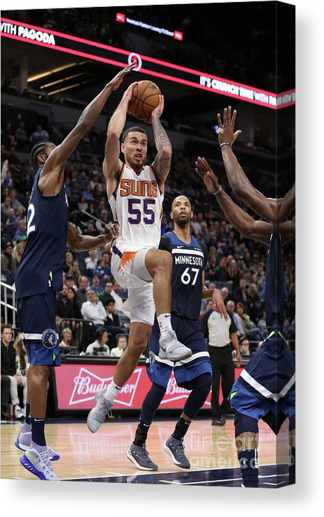 Nba Pro Basketball Canvas Print featuring the photograph Phoenix Suns V Minnesota Timberwolves by Jordan Johnson