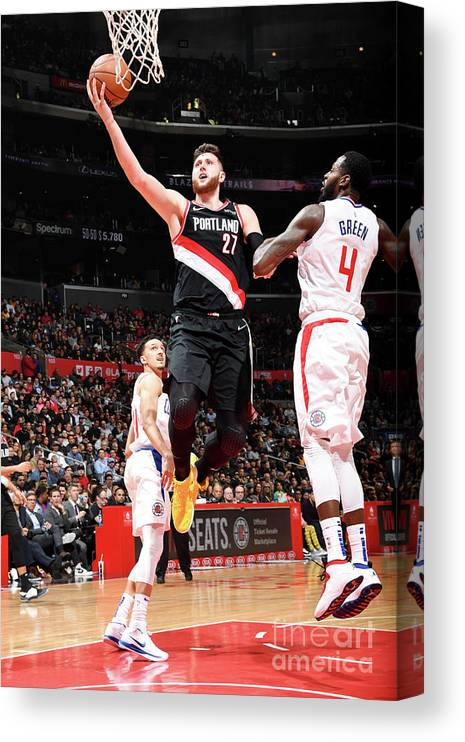 Jusuf Nurkić Canvas Print featuring the photograph Portland Trail Blazers V La Clippers by Andrew D. Bernstein