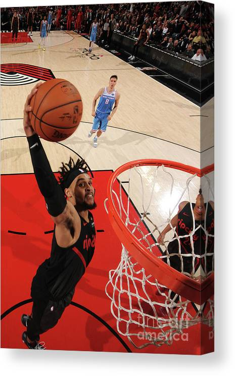 Nba Pro Basketball Canvas Print featuring the photograph Sacramento Kings V Portland Trail by Cameron Browne