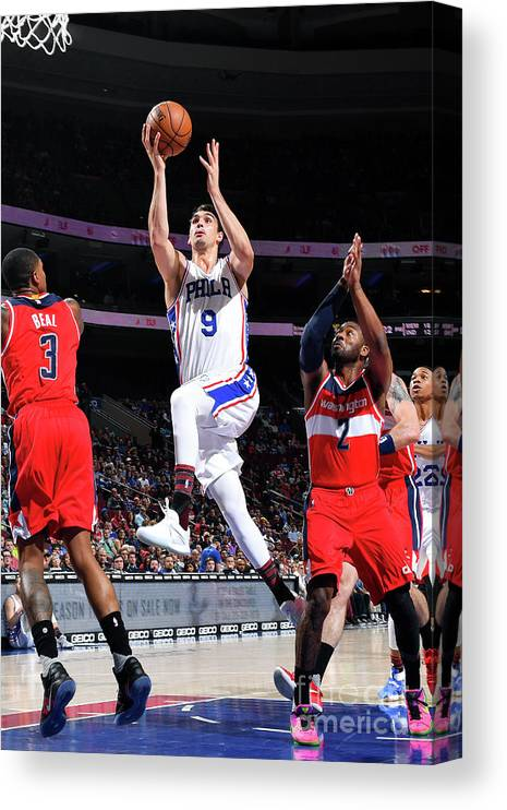 Nba Pro Basketball Canvas Print featuring the photograph Washington Wizards V Philadelphia 76ers by Jesse D. Garrabrant