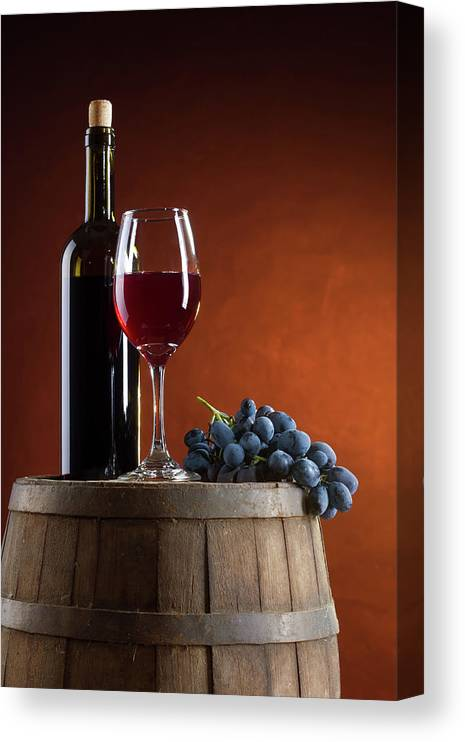 Rose Wine Canvas Print featuring the photograph White Wine Composition by Valentinrussanov