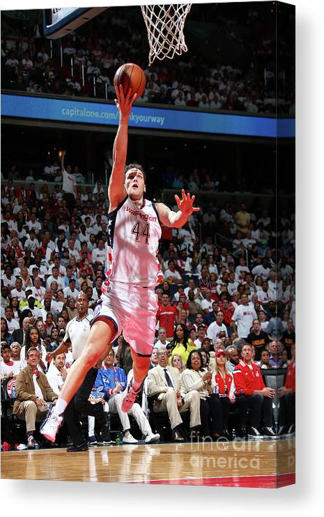 Playoffs Canvas Print featuring the photograph Atlanta Hawks V Washington Wizards - by Ned Dishman