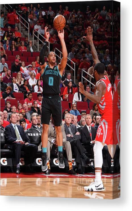 Nba Pro Basketball Canvas Print featuring the photograph Charlotte Hornets V Houston Rockets by Bill Baptist