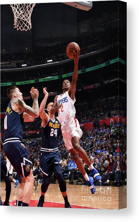 Nba Pro Basketball Canvas Print featuring the photograph Denver Nuggets V La Clippers by Adam Pantozzi