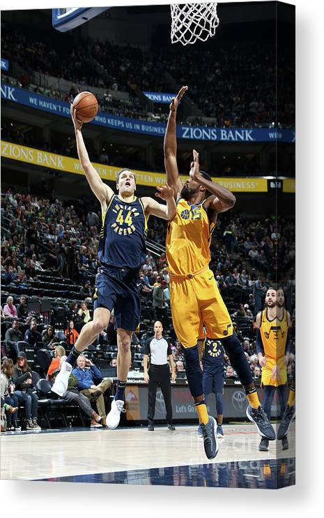 Nba Pro Basketball Canvas Print featuring the photograph Indiana Pacers V Utah Jazz by Melissa Majchrzak