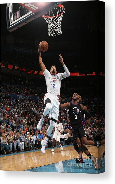 Nba Pro Basketball Canvas Print featuring the photograph La Clippers V Oklahoma City Thunder by Layne Murdoch
