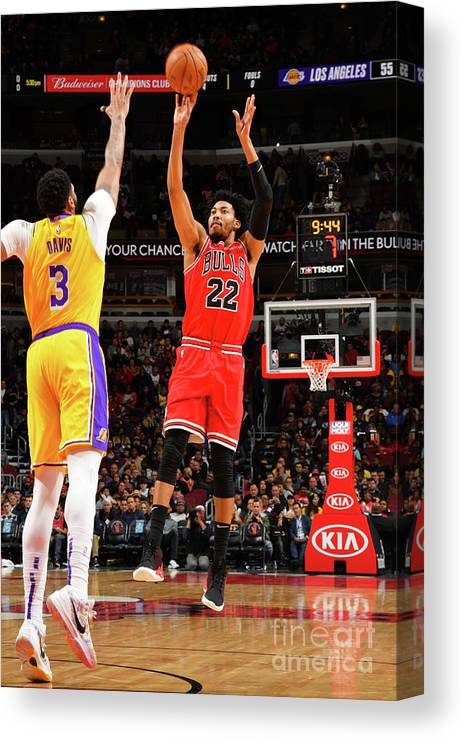 Chicago Bulls Canvas Print featuring the photograph Los Angeles Lakers V Chicago Bulls by Jesse D. Garrabrant
