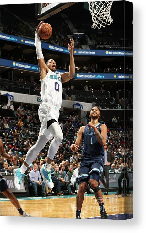 Nba Pro Basketball Canvas Print featuring the photograph Memphis Grizzlies V Charlotte Hornets by Kent Smith