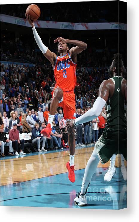 Nba Pro Basketball Canvas Print featuring the photograph Milwaukee Bucks V Oklahoma City Thunder by Zach Beeker