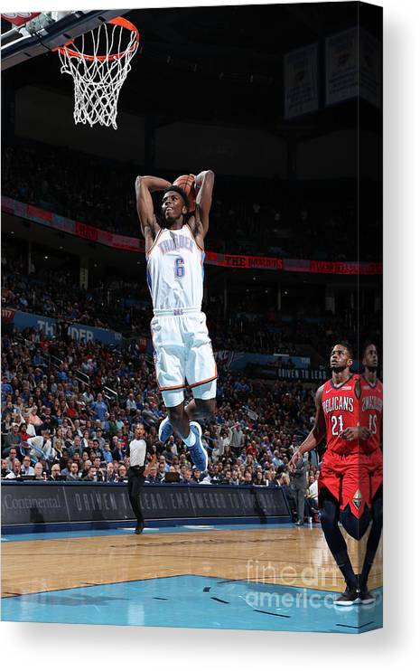 Nba Pro Basketball Canvas Print featuring the photograph New Orleans Pelicans V Oklahoma City by Joe Murphy