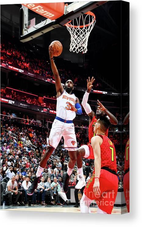 Atlanta Canvas Print featuring the photograph New York Knicks V Atlanta Hawks by Scott Cunningham