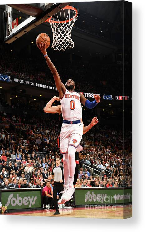 Nba Pro Basketball Canvas Print featuring the photograph New York Knicks V Toronto Raptors by Ron Turenne