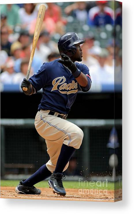 Tony Gwynn Jr. Canvas Print featuring the photograph San Diego Padres V Colorado Rockies by Doug Pensinger