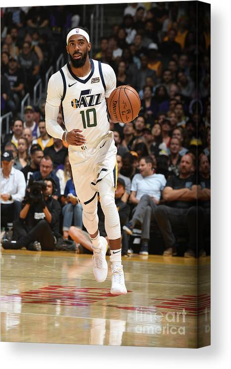 Nba Pro Basketball Canvas Print featuring the photograph Utah Jazz V Los Angeles Lakers by Andrew D. Bernstein