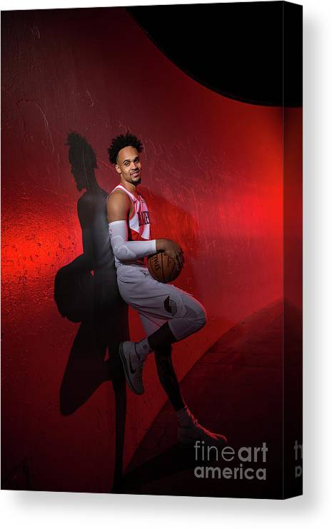 Media Day Canvas Print featuring the photograph 2018-2019 Portland Trail Blazers Media by Sam Forencich
