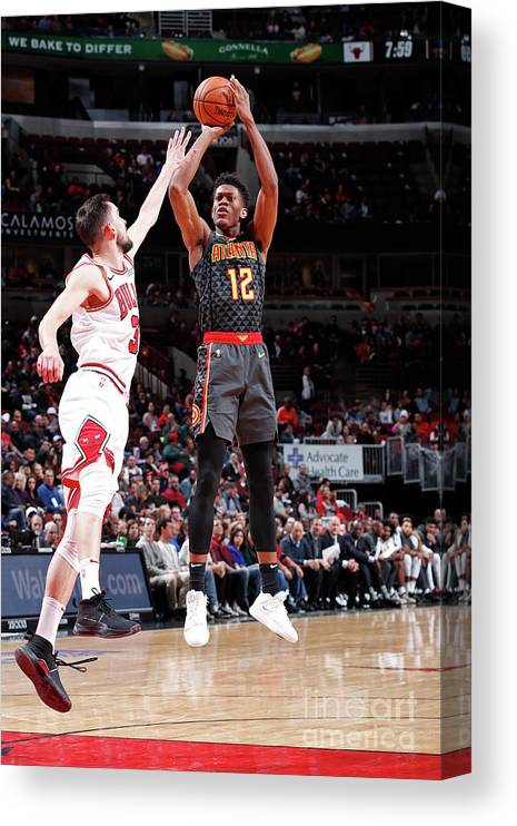 De'andre Hunter Canvas Print featuring the photograph Atlanta Hawks V Chicago Bulls by Jeff Haynes