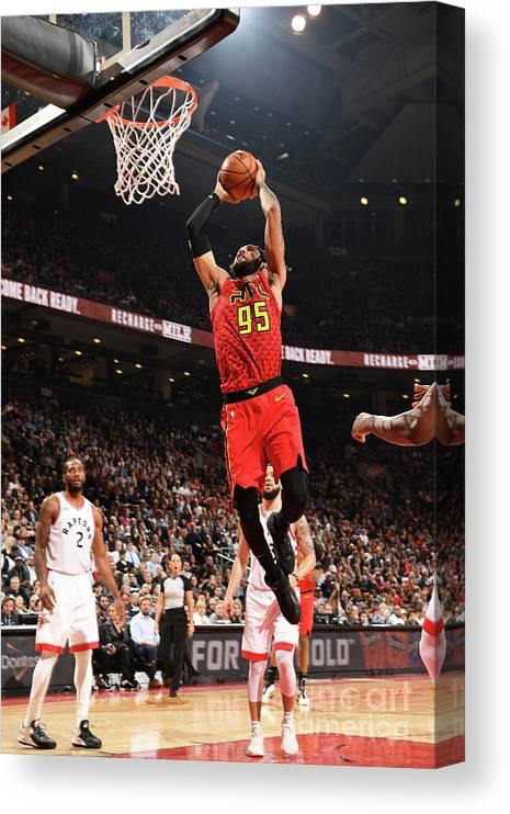 Nba Pro Basketball Canvas Print featuring the photograph Atlanta Hawks V Toronto Raptors by Ron Turenne