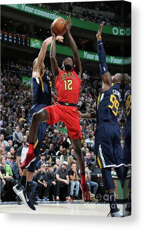 Nba Pro Basketball Canvas Print featuring the photograph Atlanta Hawks V Utah Jazz by Melissa Majchrzak