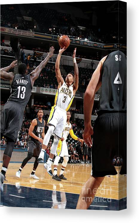 Nba Pro Basketball Canvas Print featuring the photograph Brooklyn Nets V Indiana Pacers by Ron Hoskins