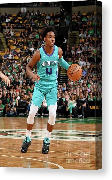 Nba Pro Basketball Canvas Print featuring the photograph Charlotte Hornets V Boston Celtics by Brian Babineau