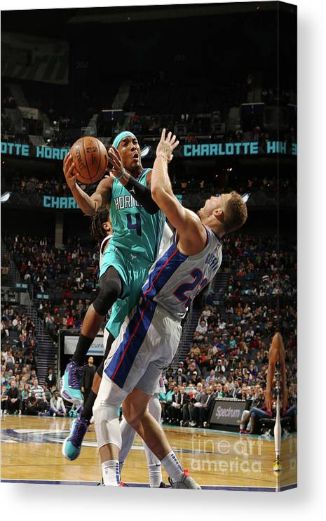 Nba Pro Basketball Canvas Print featuring the photograph Detroit Pistons V Charlotte Hornets by Brock Williams-smith