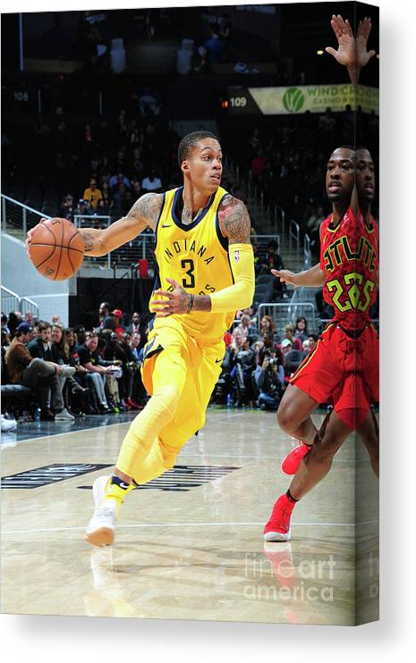 Atlanta Canvas Print featuring the photograph Indiana Pacers V Atlanta Hawks by Scott Cunningham