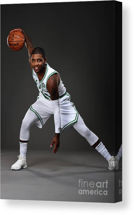 Nba Pro Basketball Canvas Print featuring the photograph Kyrie Irving Boston Celtics Portraits by Brian Babineau
