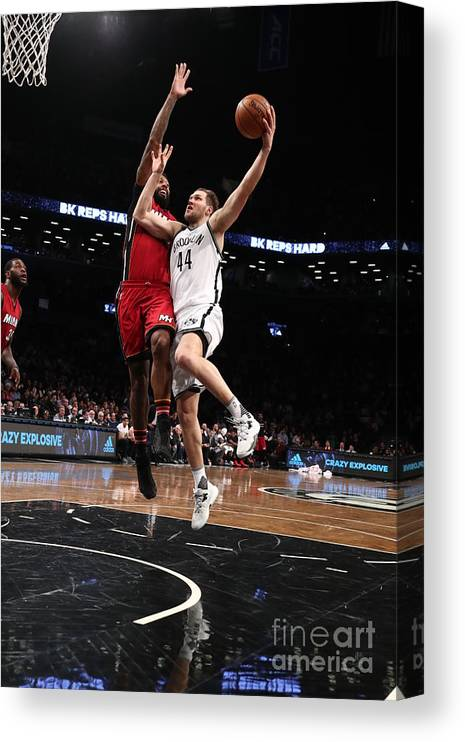Nba Pro Basketball Canvas Print featuring the photograph Miami Heat V Brooklyn Nets by Nathaniel S. Butler
