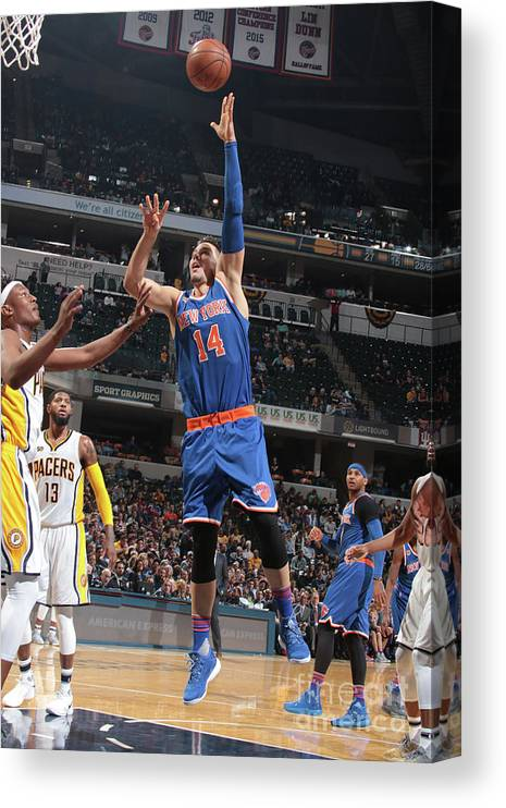 Guillermo Hernangómez Geuer Canvas Print featuring the photograph New York Knicks V Indiana Pacers by Ron Hoskins