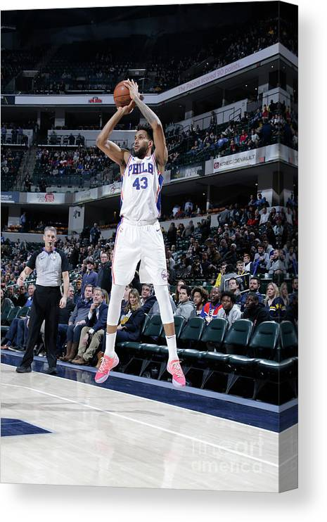 Nba Pro Basketball Canvas Print featuring the photograph Philadelphia 76ers V Indiana Pacers by Ron Hoskins