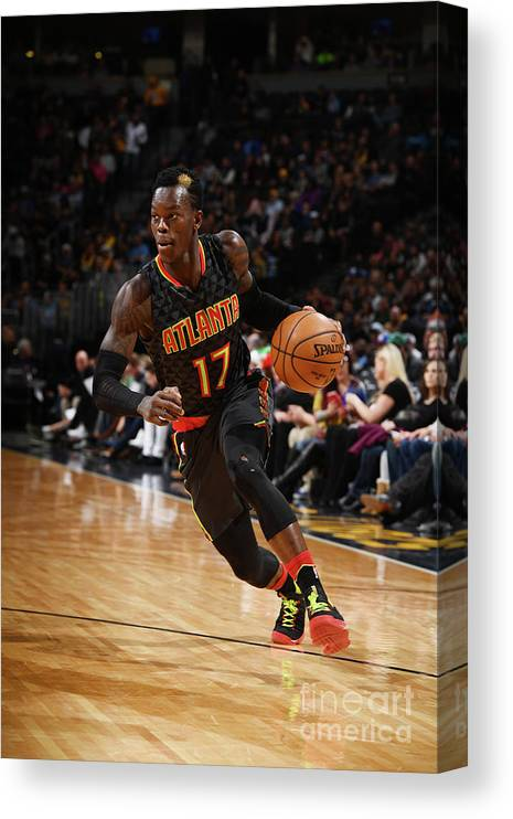 Nba Pro Basketball Canvas Print featuring the photograph Atlanta Hawks V Denver Nuggets by Garrett Ellwood