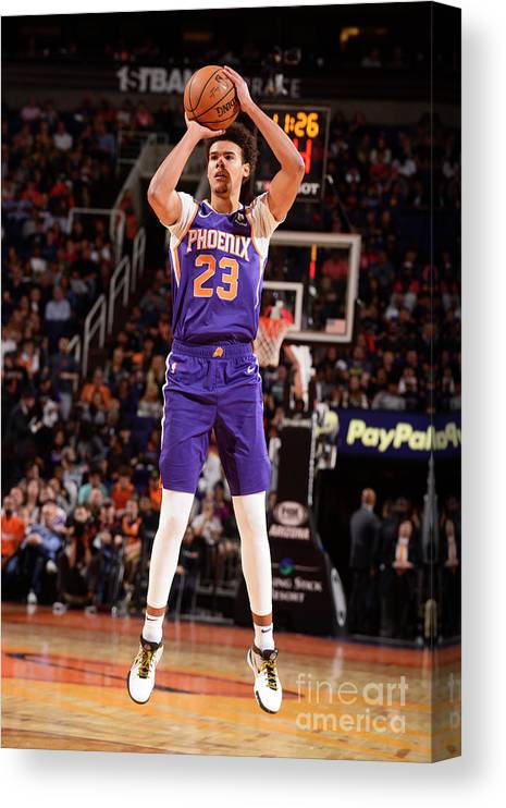 Nba Pro Basketball Canvas Print featuring the photograph Brooklyn Nets V Phoenix Suns by Barry Gossage