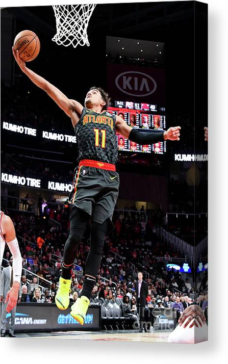 Atlanta Canvas Print featuring the photograph Chicago Bulls V Atlanta Hawks by Scott Cunningham